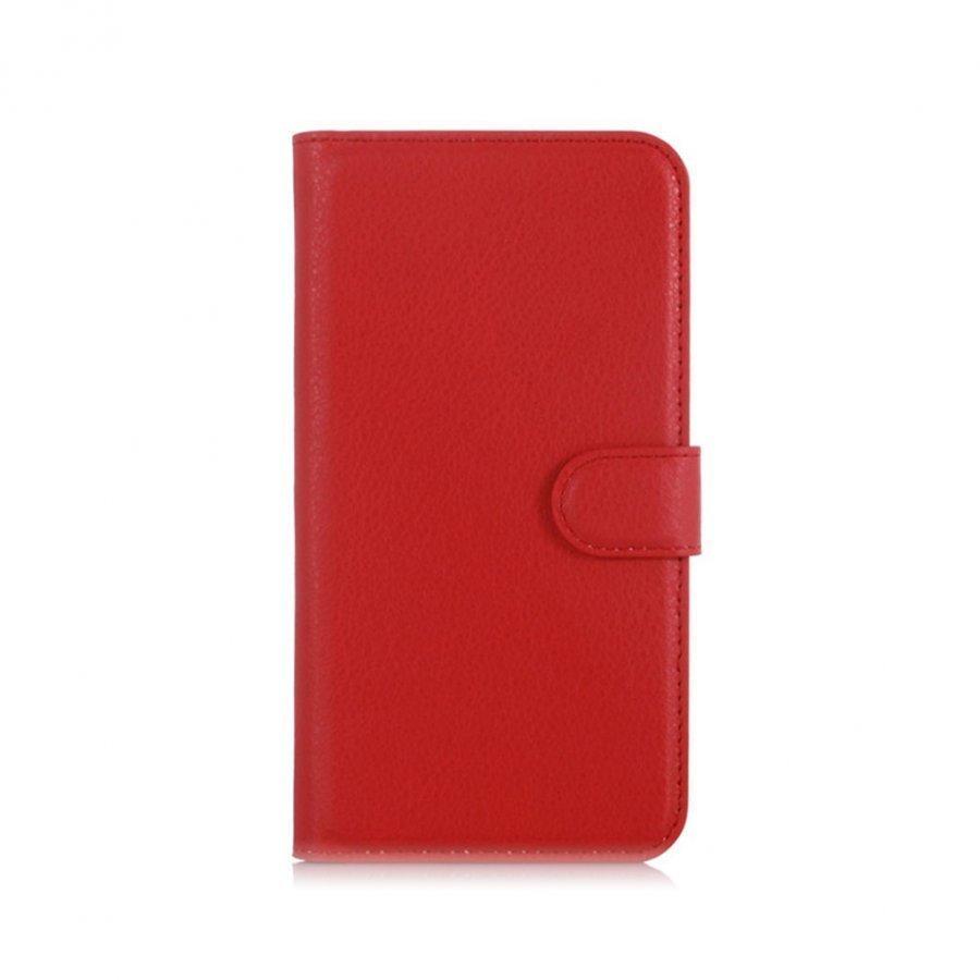 Acer Liquid Z630 Litsi Pintainen Nahkakotelo Korttitaskuilla Punainen