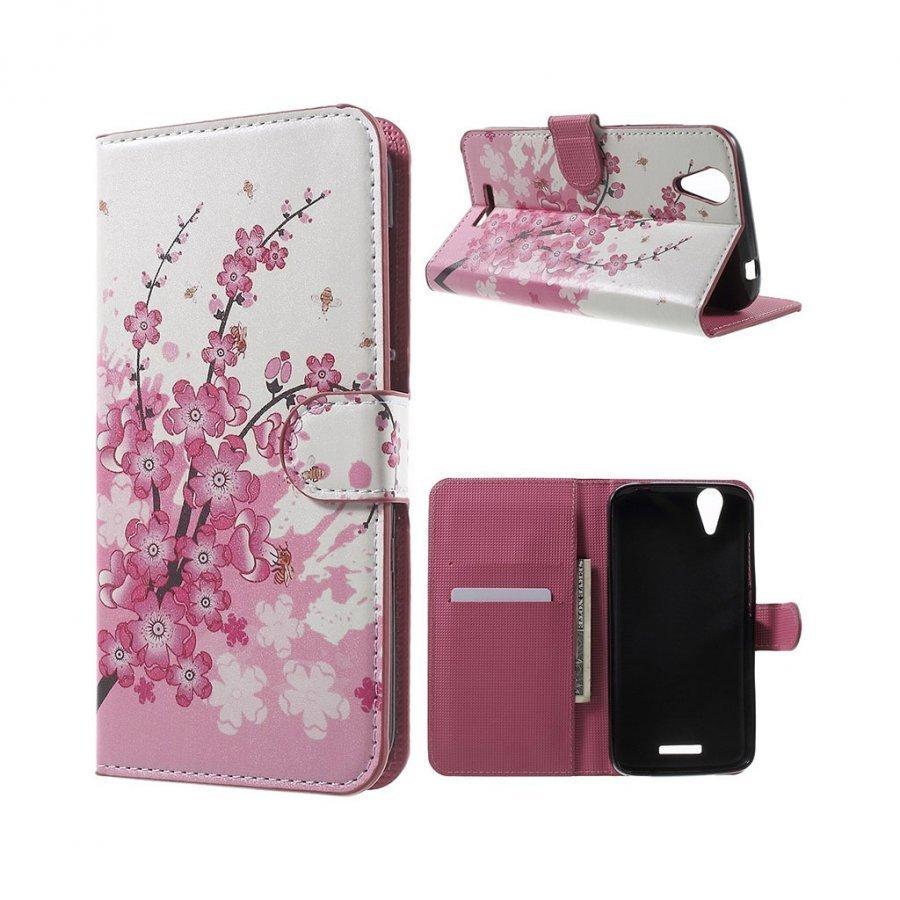 Acer Liquid Z630 Nahkakotelo Lompakko Standillä Luumupuun Kukkia