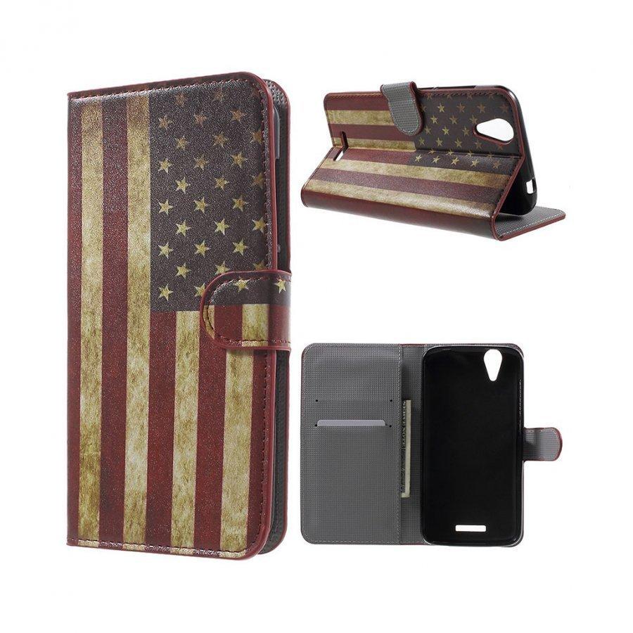 Acer Liquid Z630 Nahkakotelo Lompakko Standillä Retro Amerikan Lippu