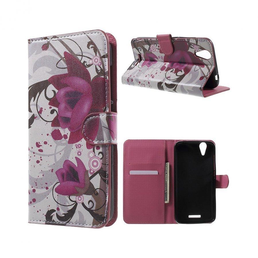 Acer Liquid Z630 Nahkakotelo Lompakko Standillä Violetit Kukat