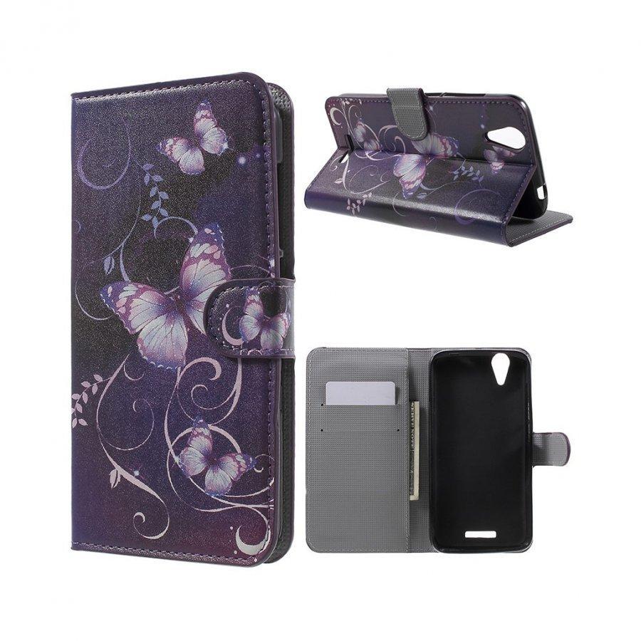 Acer Liquid Z630 Nahkakotelo Lompakko Standillä Violetti Perhonen