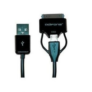 Adifone DUO-Plug microUSB & Apple 30-pin cable Black