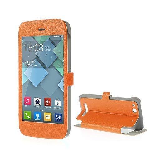 Alcatel One Touch Alpha Nahkakotelo Ikkunalla Ja Standillä Oranssi