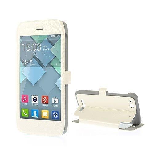 Alcatel One Touch Alpha Nahkakotelo Ikkunalla Ja Standillä Valkoinen