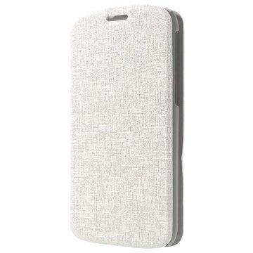 Alcatel One Touch Pop C7 Kuvioitu Läpällinen Nahkakotelo Valkoinen