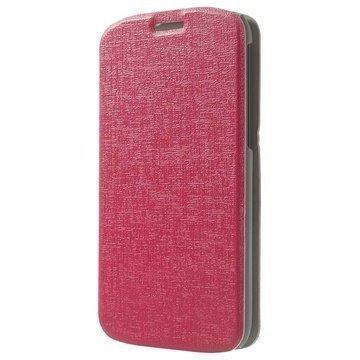 Alcatel One Touch Pop C7 Pintakuvioitu Läpällinen Nahkakotelo Kuuma Pinkki