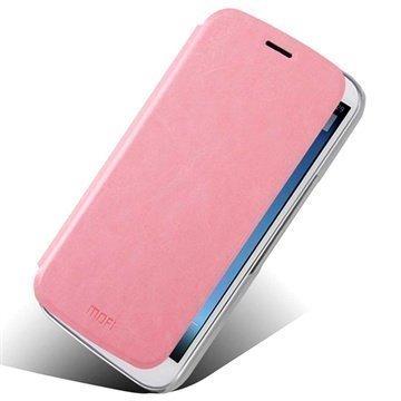 Alcatel One Touch Pop C9 Mofi Rui Series Läpällinen Nahkakotelo Vaaleanpunainen