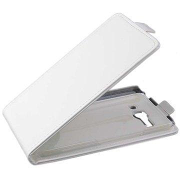 Alcatel One Touch Pop C9 Pystysuuntainen Nahkainen Läppäkotelo Valkoinen