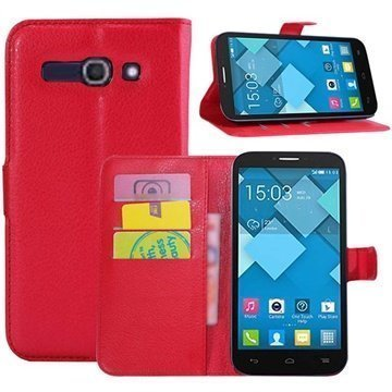 Alcatel One Touch Pop C9 Wallet Nahkakotelo Punainen