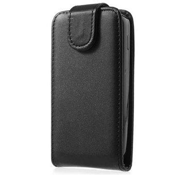 Alcatel One Touch S`Pop Pystysuuntainen Nahkainen Läppäkotelo Musta
