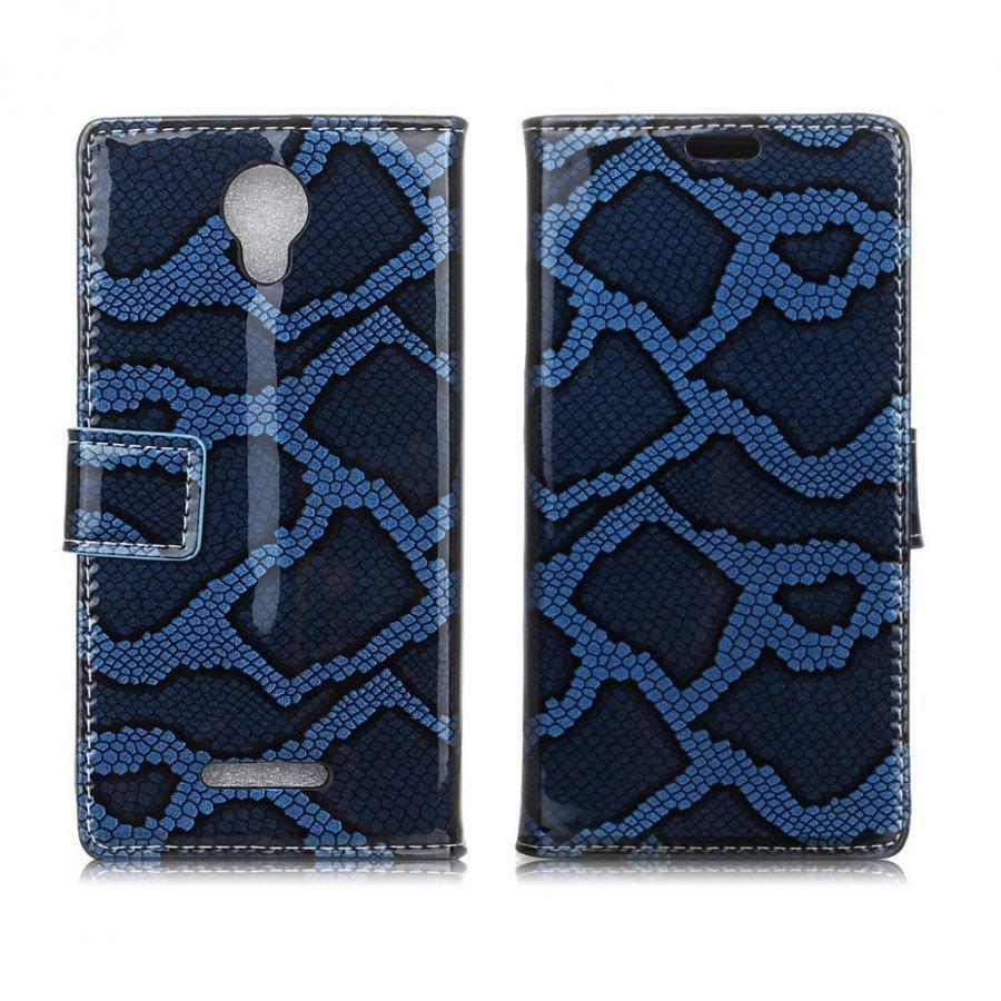 Alcatel Pixi 4 5 Käärme Kuvioinen Nahkakotelo Sininen