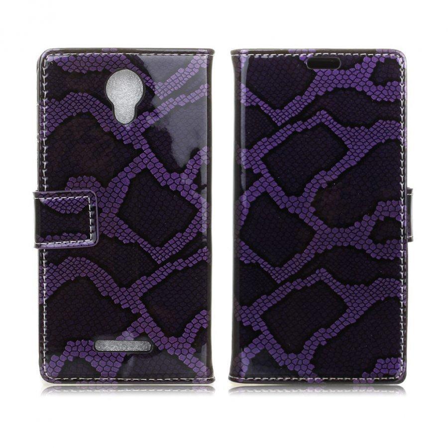 Alcatel Pixi 4 5 Käärme Kuvioinen Nahkakotelo Violetti