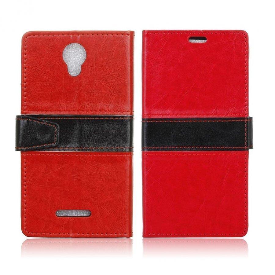 Alcatel Pixi 4 5 Nahkakotelo Lompakko Standillä Punainen