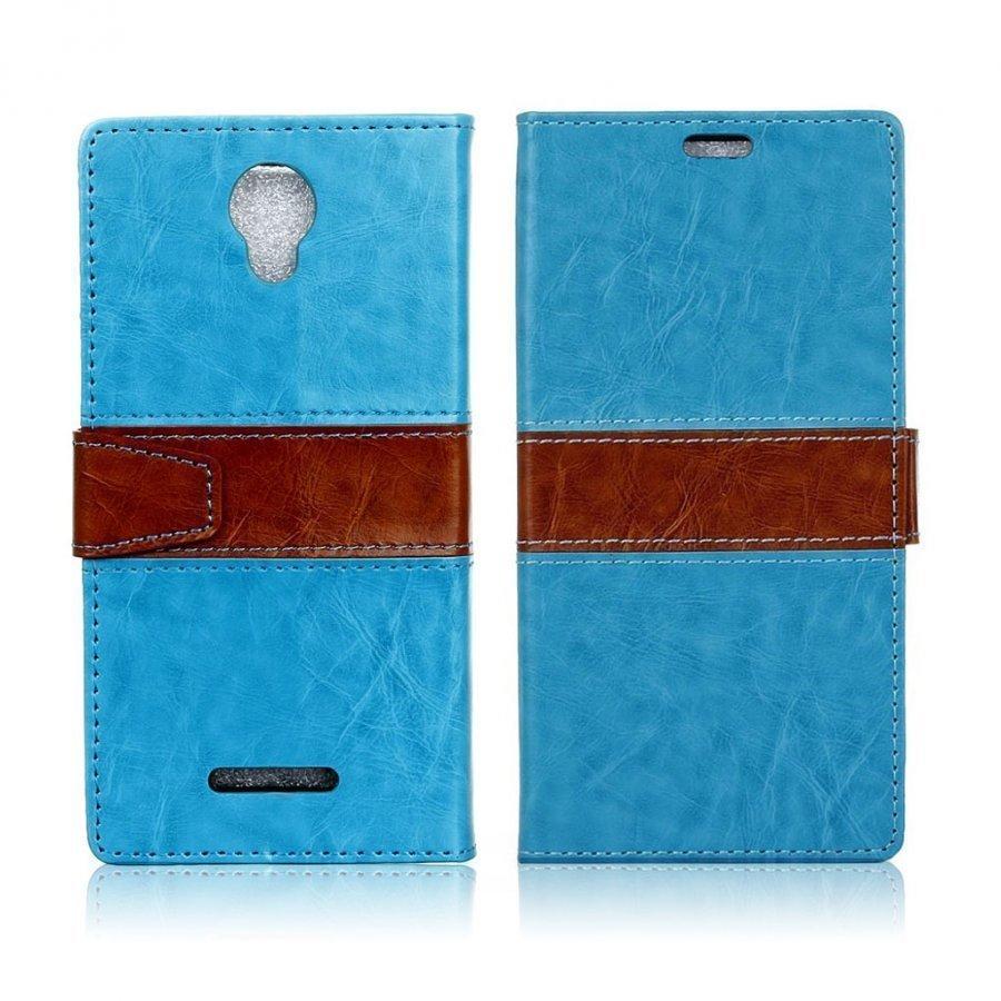 Alcatel Pixi 4 5 Nahkakotelo Lompakko Standillä Sininen