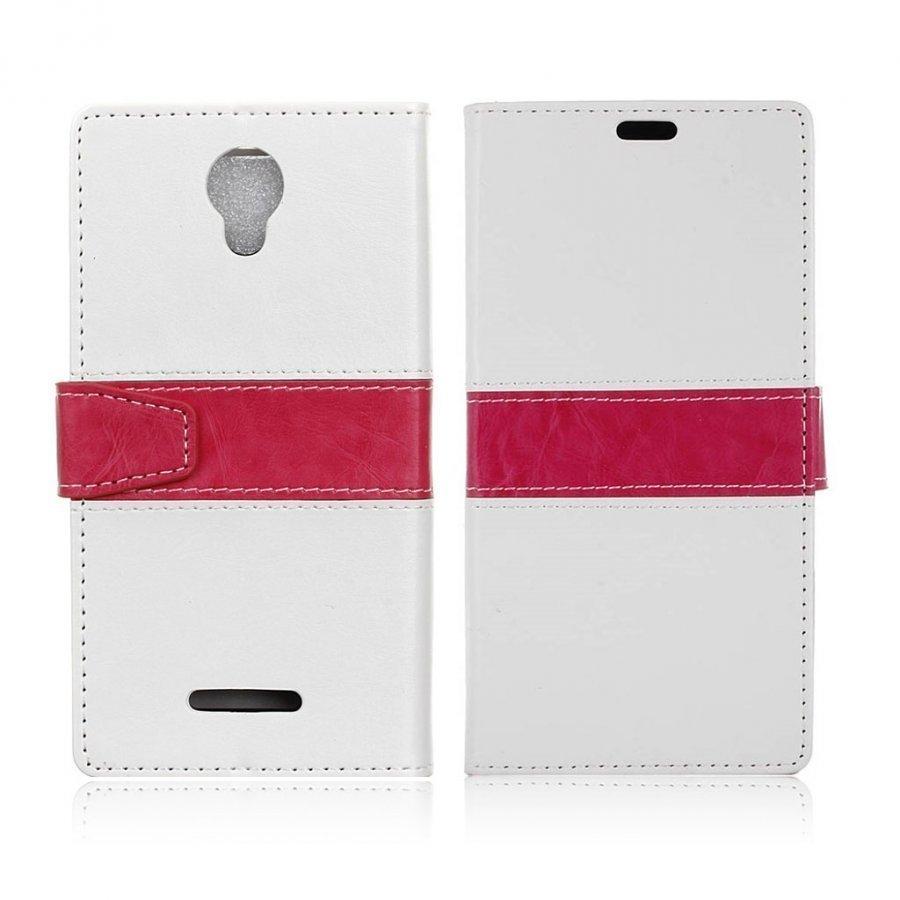 Alcatel Pixi 4 5 Nahkakotelo Lompakko Standillä Valkoinen