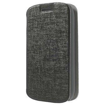 Alcatel Pop C1 Kuvioitu Läpällinen Nahkakotelo Musta