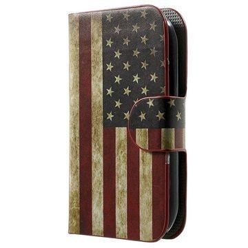 Alcatel Pop C1 Tyylikäs Lompakkokotelo Vintage American Flag