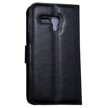 Alcatel Pop D5 Wallet Nahkakotelo Musta