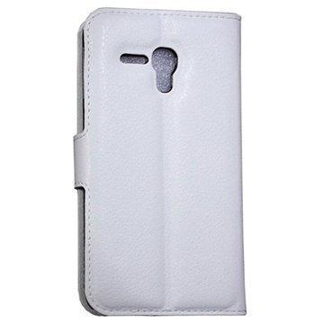 Alcatel Pop D5 Wallet Nahkakotelo Valkoinen