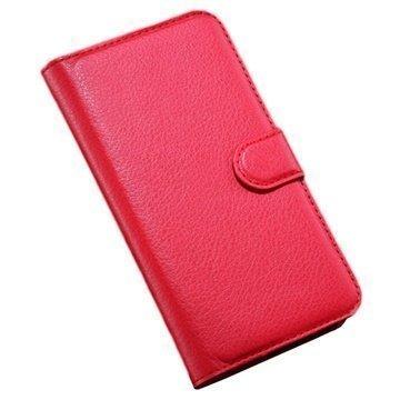 Alcatel Pop S7 Wallet Nahkakotelo Punainen