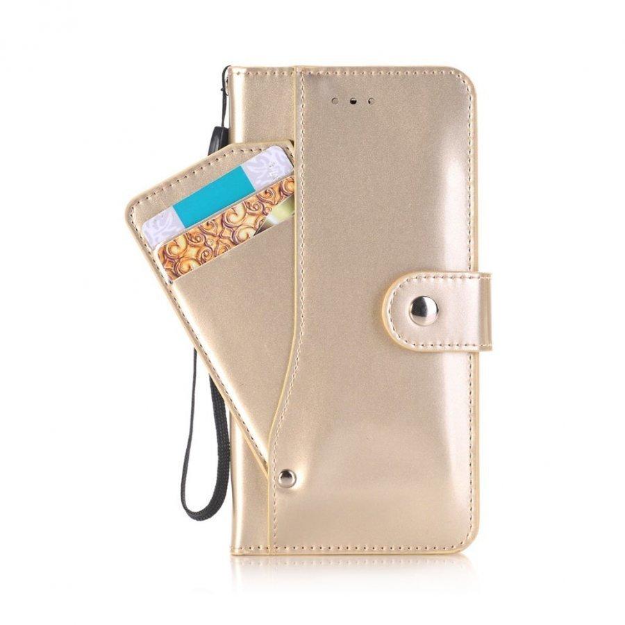 Ali Iphone 7 Plus Kiiltävä Nahkakotelo Korttitaskuilla Kulta