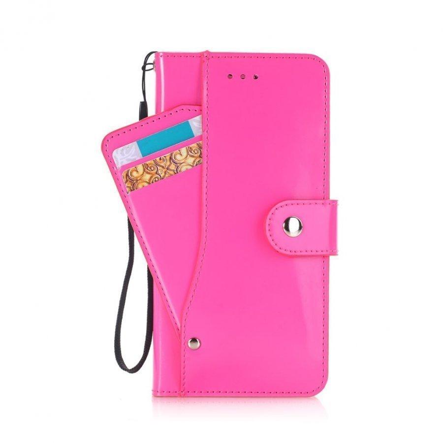 Ali Iphone 7 Plus Kiiltävä Nahkakotelo Korttitaskuilla Kuuma Pinkki