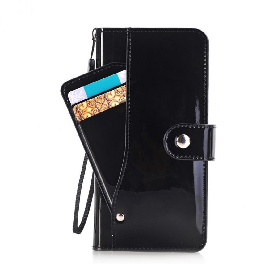 Ali Iphone 7 Plus Kiiltävä Nahkakotelo Korttitaskuilla Musta