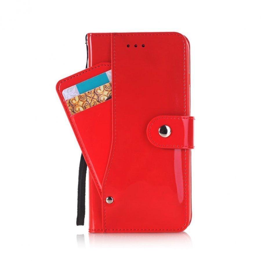 Ali Iphone 7 Plus Kiiltävä Nahkakotelo Korttitaskuilla Punainen