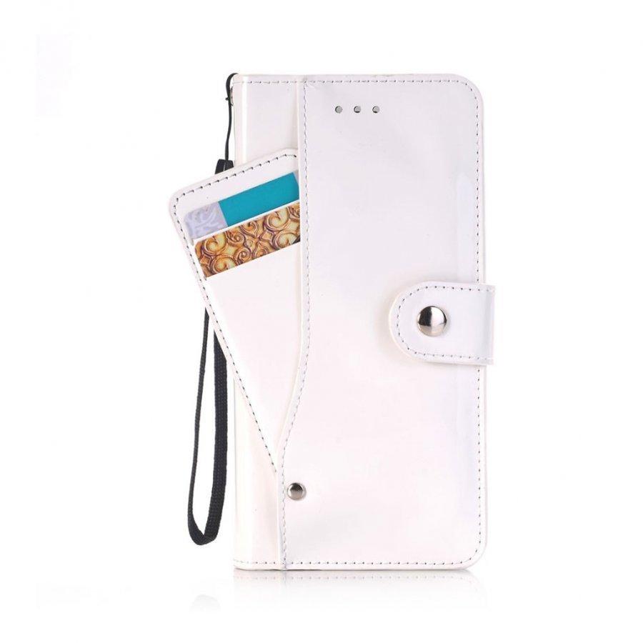 Ali Iphone 7 Plus Kiiltävä Nahkakotelo Korttitaskuilla Valkoinen