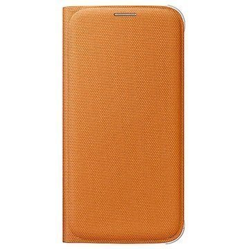 Alkuperäinen Samsung Galaxy S6 Flip Wallet Kankainen Lompakkokotelo EF-WG920BO Oranssi