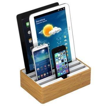 All-Dock Lataustelakka 4-Porttia Medium Bambu / Valkoinen