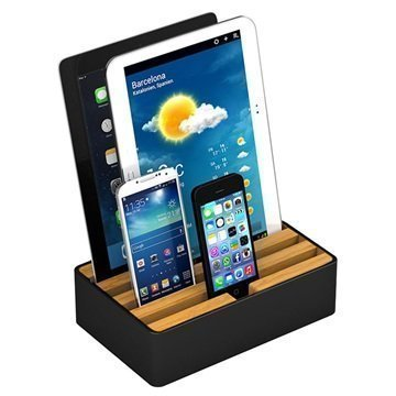 All-Dock Lataustelakka 4-Porttia Medium Musta / Bambu