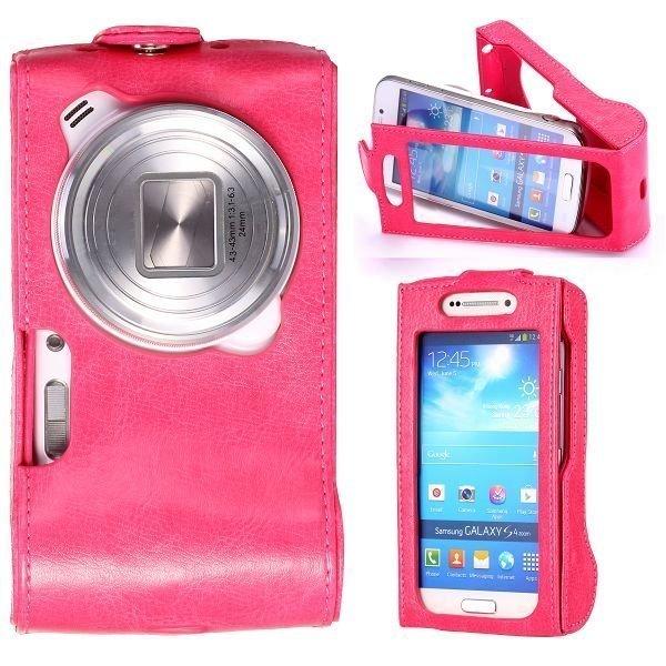 Alpha Pinkki Samsung Galaxy S4 Zoom Nahkakotelo