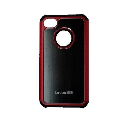 Alu-Back Musta Punainen Reunus Iphone 4 / 4s Silikonikuori Alumiini Taustalla