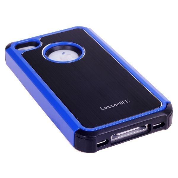 Alu-Back Musta Sininen Reunus Iphone 4 / 4s Silikonikuori Alumiini Taustalla