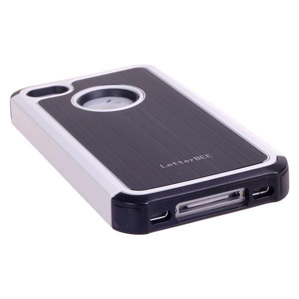 Alu-Back Musta Valkoinen Reunus Iphone 4 / 4s Silikonikuori Alumiini Taustalla