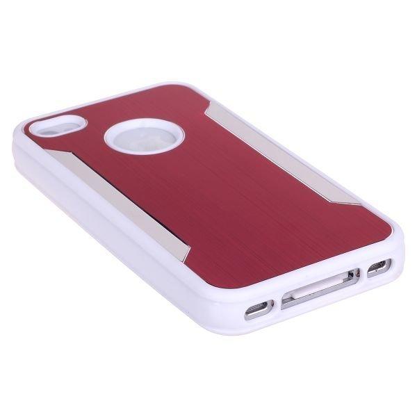 Alu-Back Ver. Ii Punainen Iphone 4 / 4s Silikonikuori Alumiini Taustalla