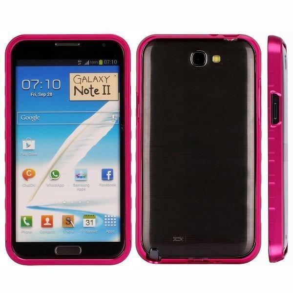 Alulite Kuuma Pinkki Samsung Galaxy Note 2 Alumiini Bumper