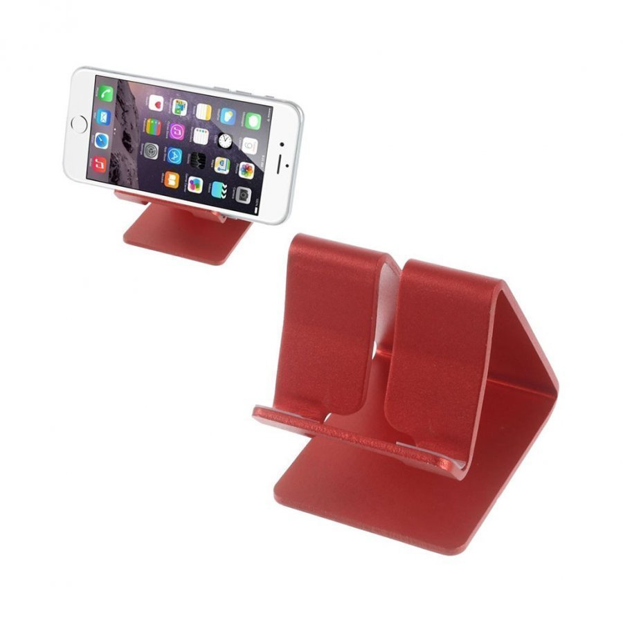 Alumiini Seos Standi Älypuhelimille Punainen
