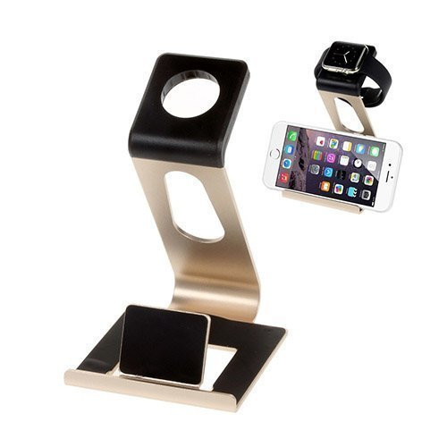 Alumiininen Autoteline Apple Kelloille Ja Älypuhelimille Kulta