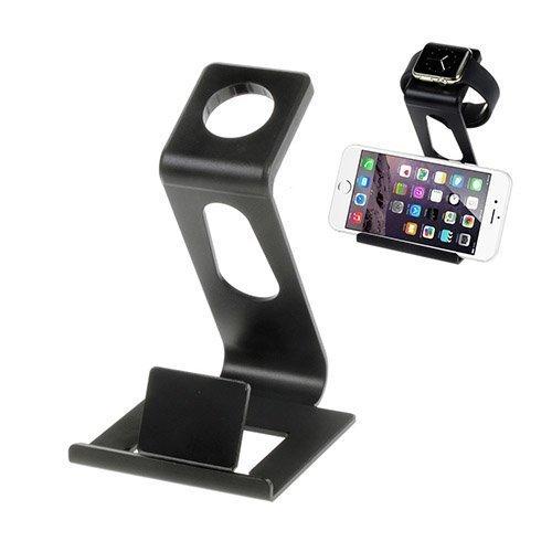 Alumiininen Autoteline Apple Kelloille Ja Älypuhelimille Musta