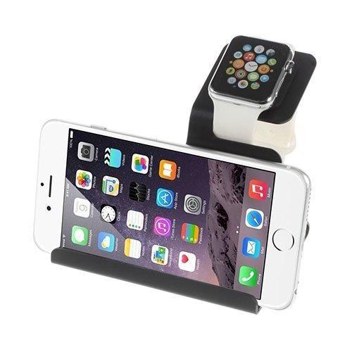 Alumiininen Lataus Standi Apple Kellolle Ja Ipad / Iphone Tabletille Ja Puhelimille Musta
