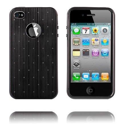 Alumiininen Tausta Soft Edge Musta Iphone 4 / 4s Silikonikuori