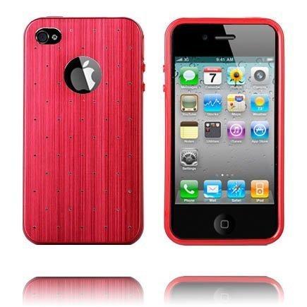 Alumiininen Tausta Soft Edge Punainen Iphone 4 / 4s Silikonikuori