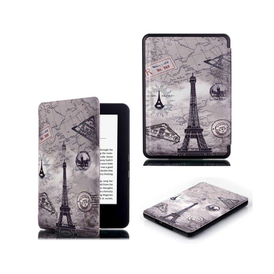 Amazon Kindle 2016 Kuvioitu Nahkakotelo Läpällä Eiffel Torni Ja Kartta