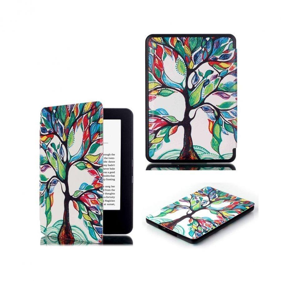 Amazon Kindle 2016 Kuvioitu Nahkakotelo Läpällä Väritetty Puu