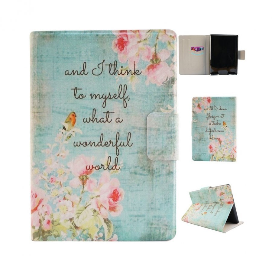 Amazon Kindle Paperwhite Älykäs Nahkakotelo Korttiaskuilla Kukkivat Kukat