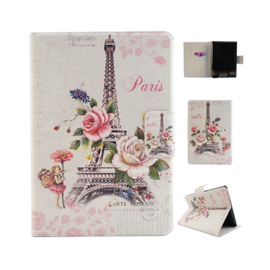 Amazon Kindle Paperwhite Nahkakotelo Korttiaskuilla Kukka Ja Eiffel Torni