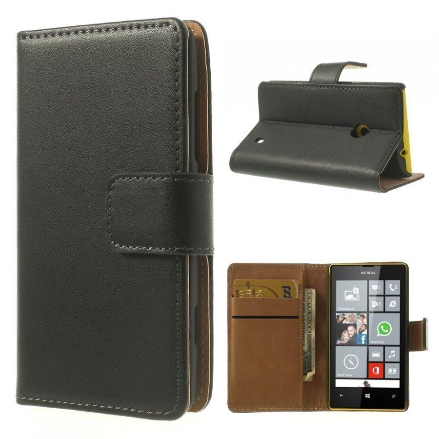 Ambassador Musta Nokia Lumia 520 / 525 Aito Nahkakotelo