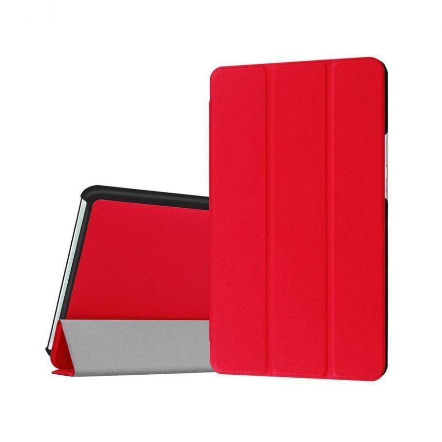 Amdrup Huawei Mediapad M3 8.4 Kolmesti Taittuva Nahkakotelo Punainen